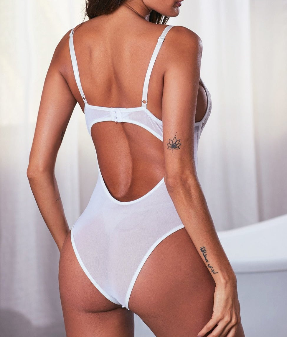 White Lace Mesh Bodysuit