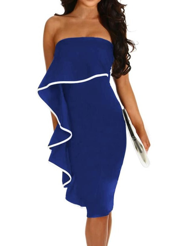 Navy Frill Strapless Midi Dress