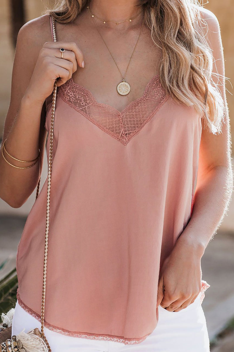 Pink Delicate Balance Lace Cami Tank
