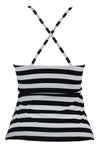 Black White Stripe Print Macrame High Neck Swim Top