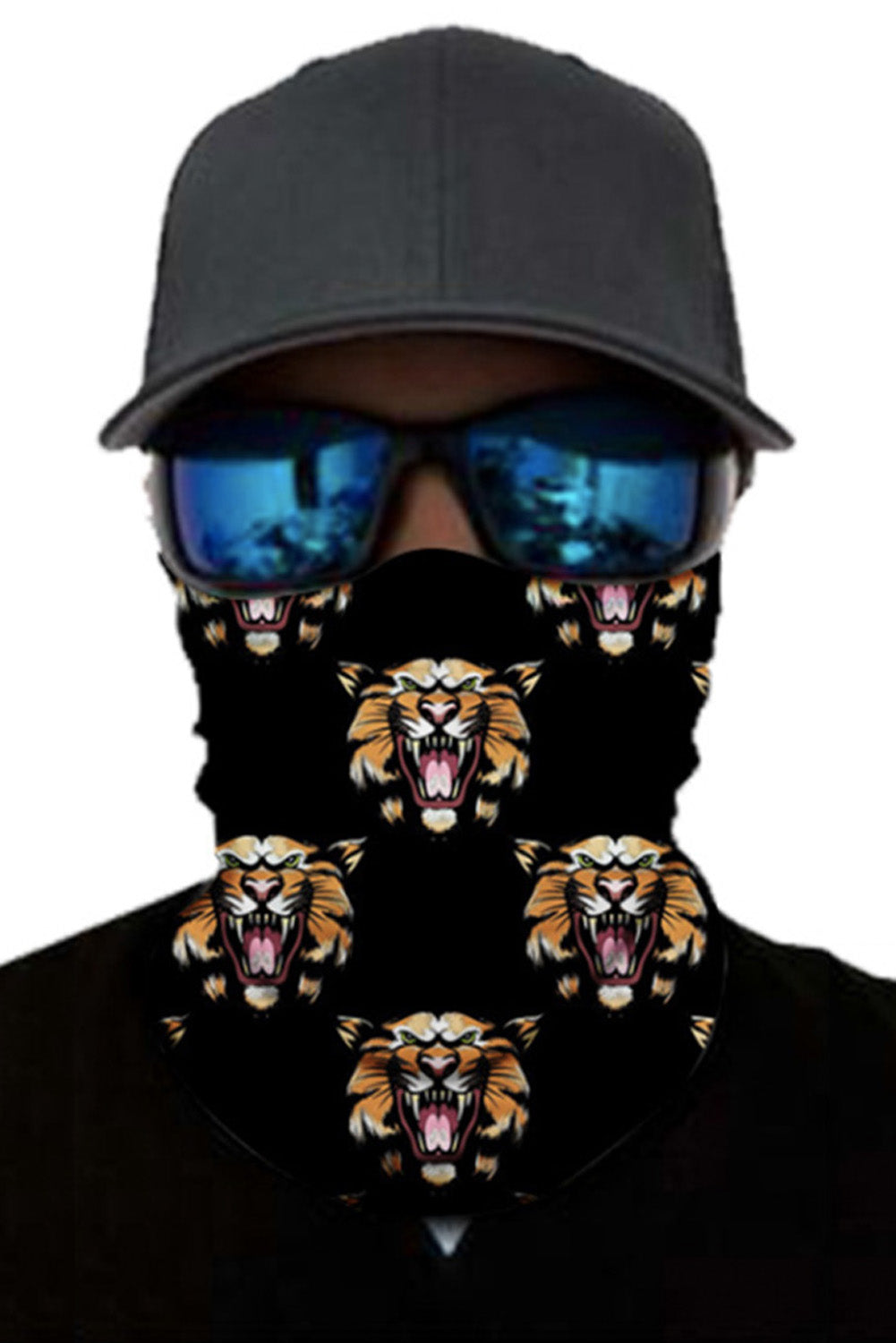 Tiger Print Face Mask and Neck Warmer with Dust and Sun UV Protection