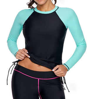 Black Mint Colorblock Long Sleeve Rashguard