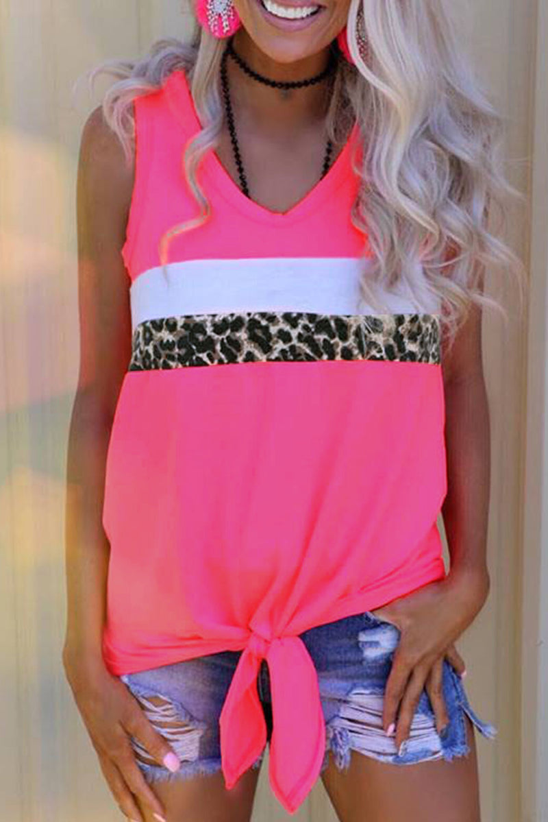 Neon Pink Leopard Striped Patchwork Sleeveless Top