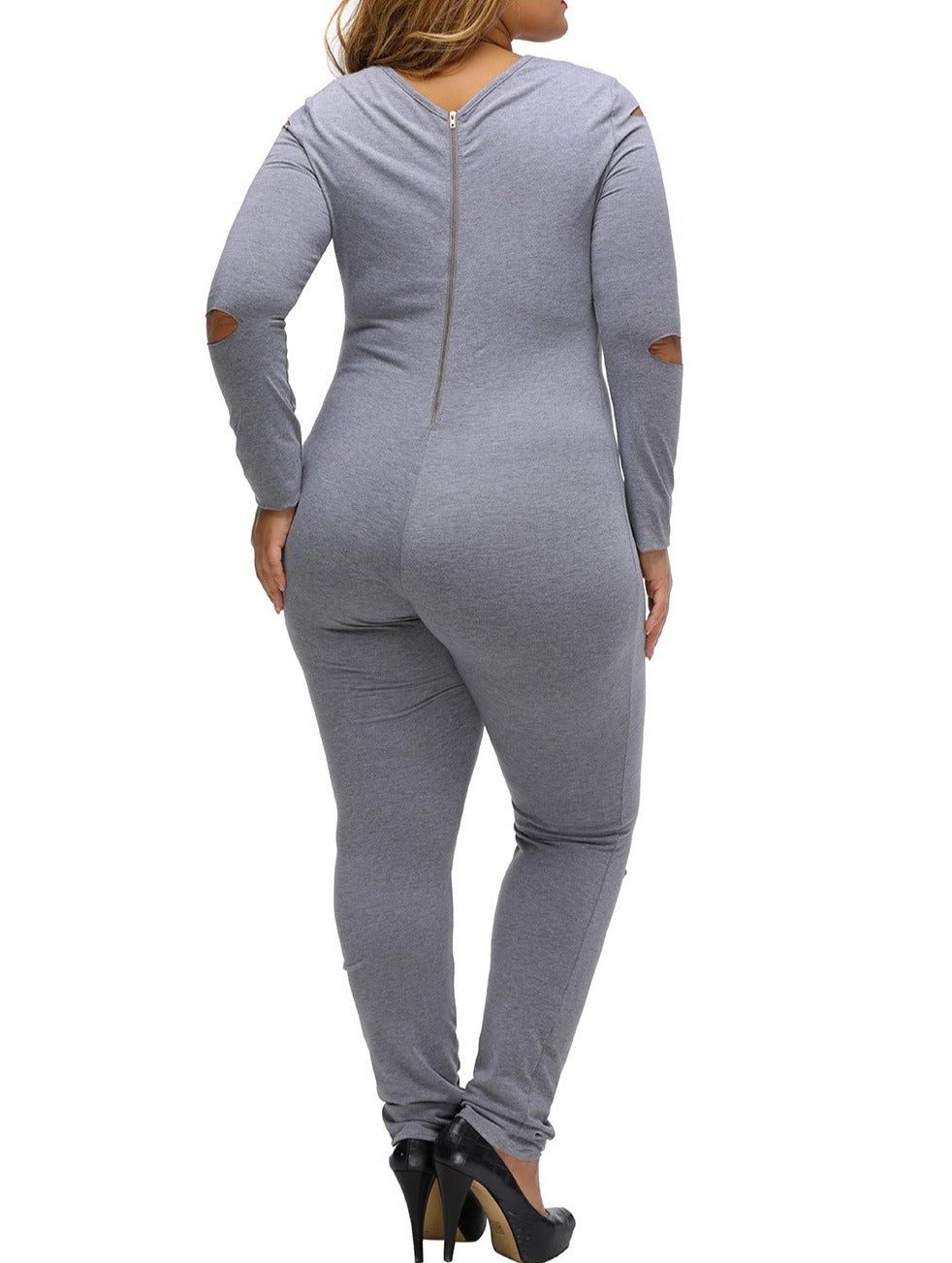 Gray Plus Size Slit Long Sleeve Jumpsuit