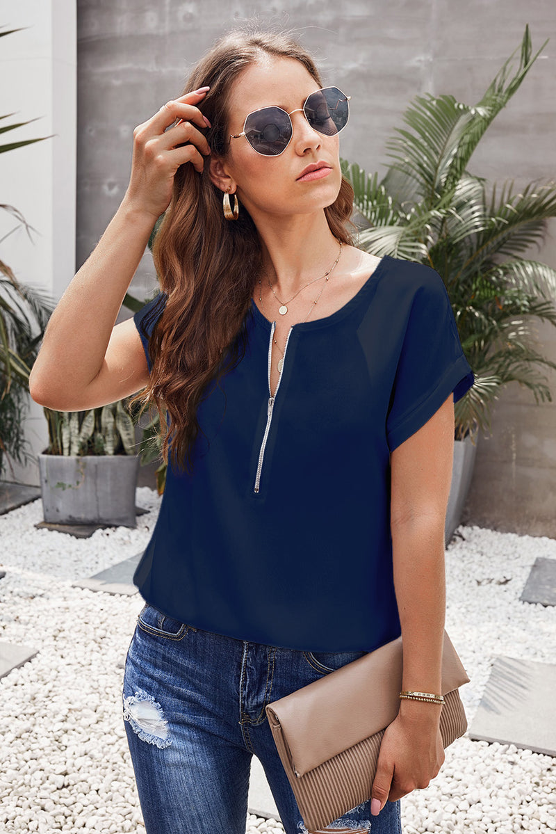 Blue Zip To It Blouse