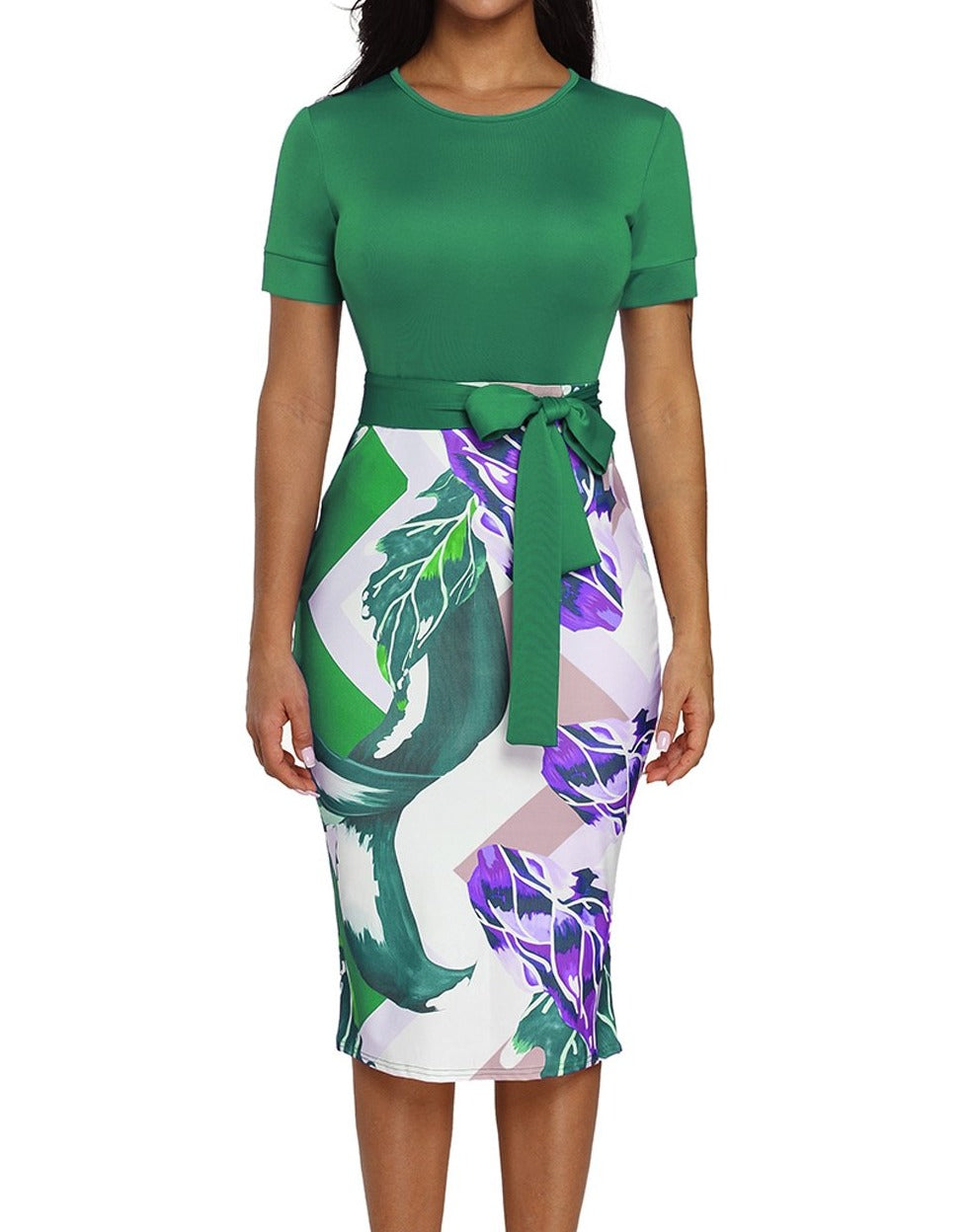 Green Bowknot Short Sleeve Printed Sheath Dress
