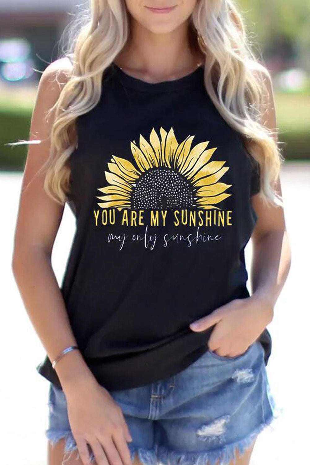 Sunflower You Are My Sunshine Tank In Black