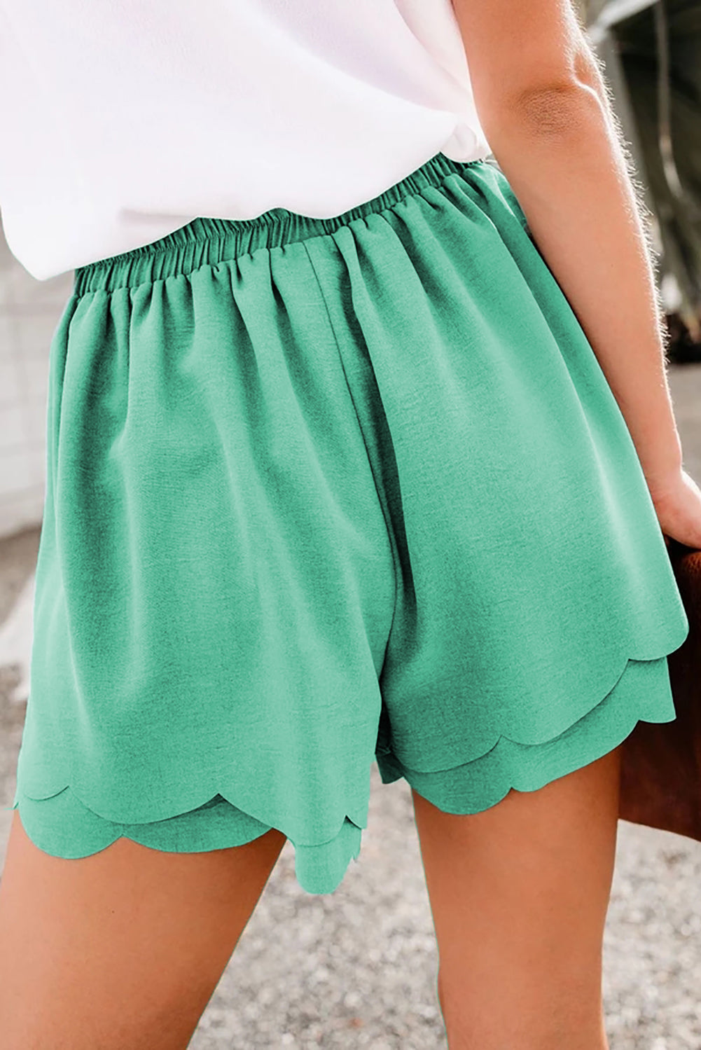 Green Scalloped Tie Front Shorts