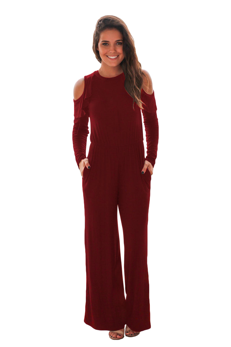 Burgundy Ruffle Cold Shoulder Long Sleeve Jumpsuit