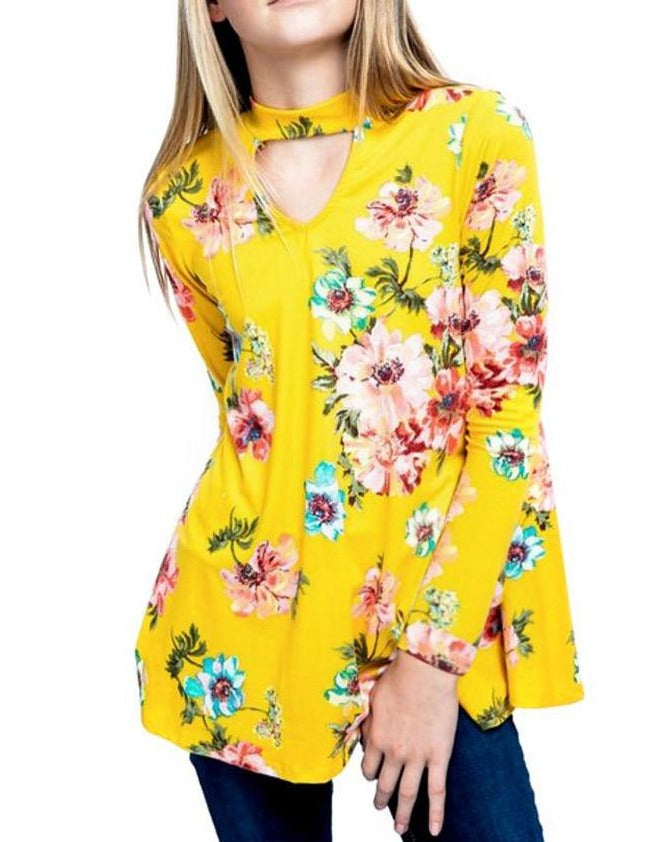 Yellow Floral Key Hole Front Girl's Long Sleeve Top