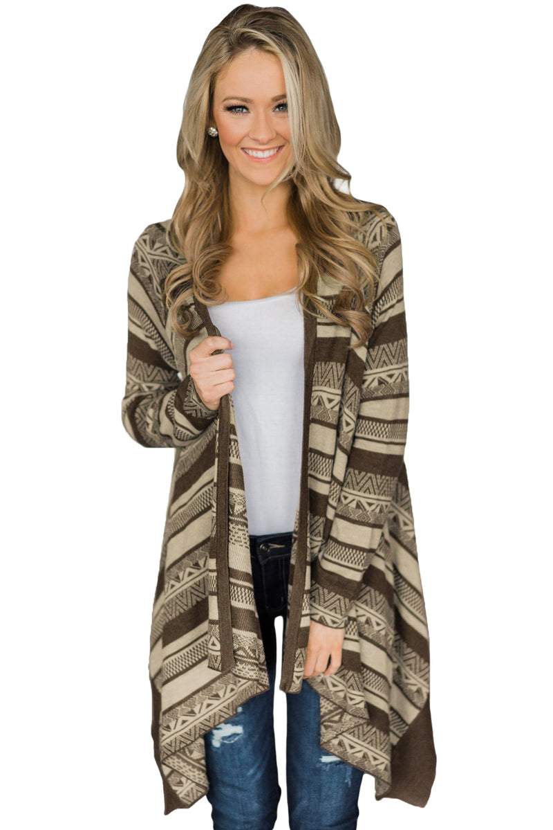 Coffee Draped Azetc Print Open Front Cardigan