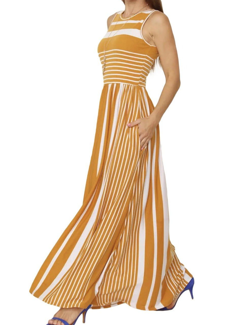 Mustard Striped Pocket Style Maxi Tank Dress