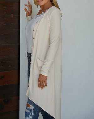 Apricot Selected Button Down Pocketed High Low Cardigan