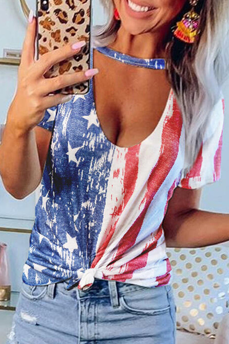 American Flag Hollow Out T-shirt