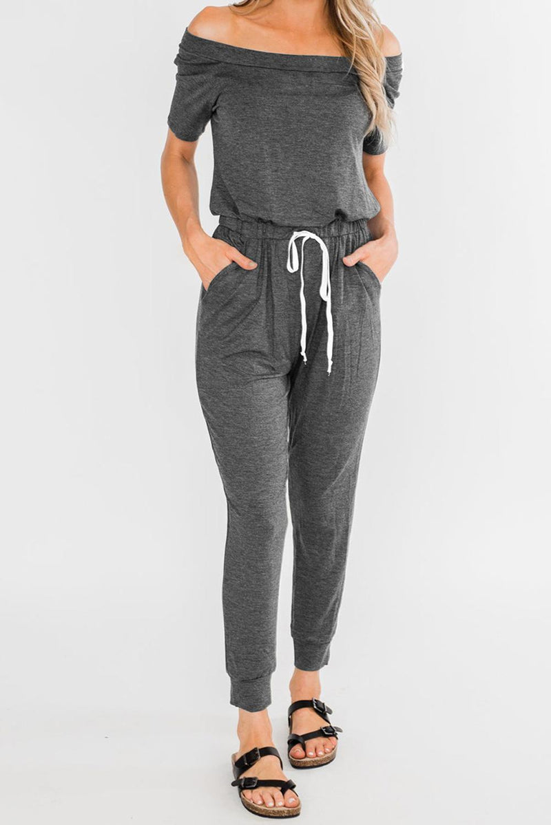Gray Living My Life Drawstring Jogger Jumpsuit
