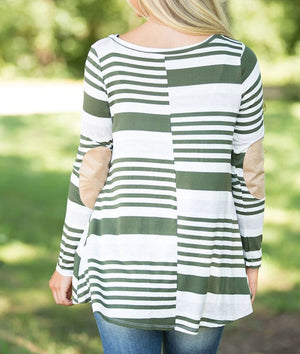 Olive Striped Patch Elbow Raglan Blouse
