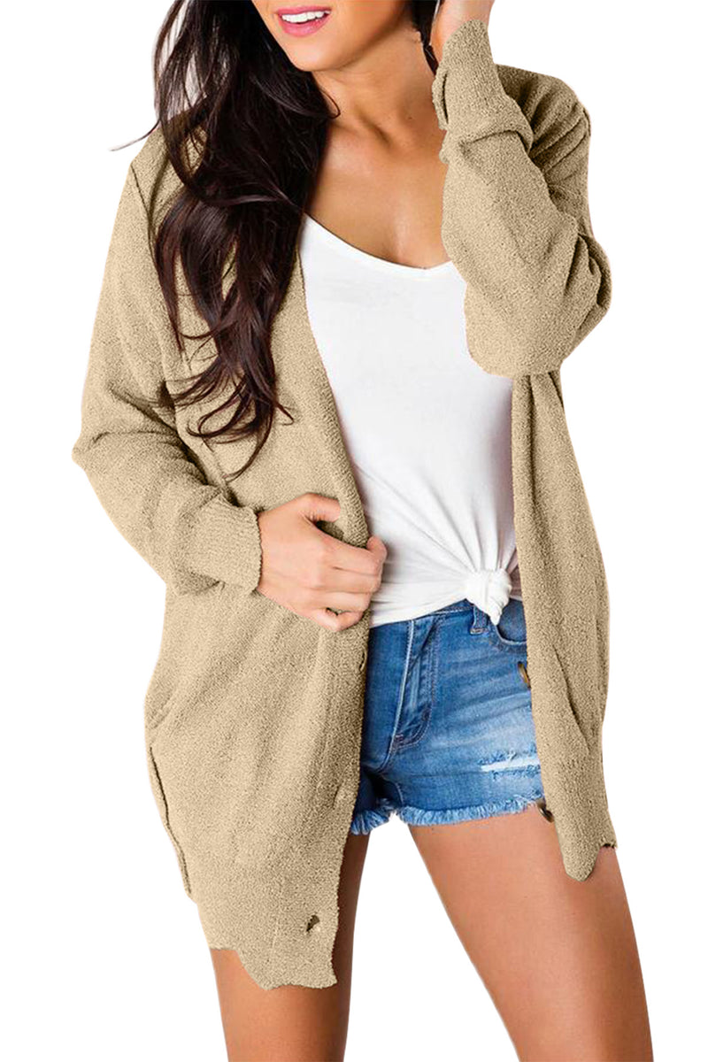 Khaki Button Down Casual Sweater Cardigan