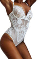 White Sheer Mesh Lace Cupped Teddy Lingerie