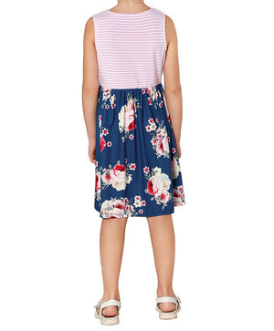 Blue Toddlers Floral and Striped Tank Dress