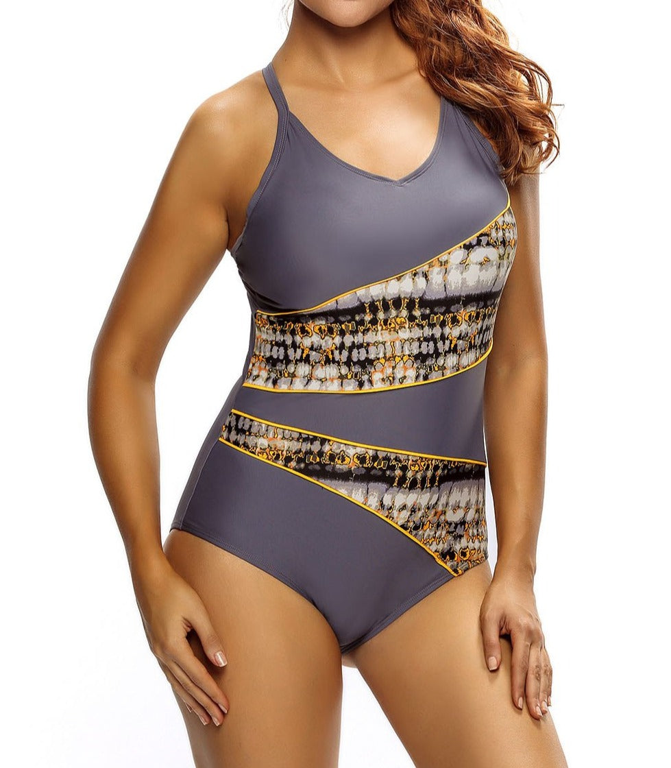 Asymmetric Print Splicing Straps Cross Monokini in Gray