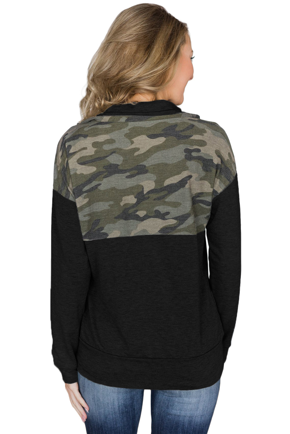 Camo Splice Black Kangaroo Pocket Zip Collar Sweatshirt