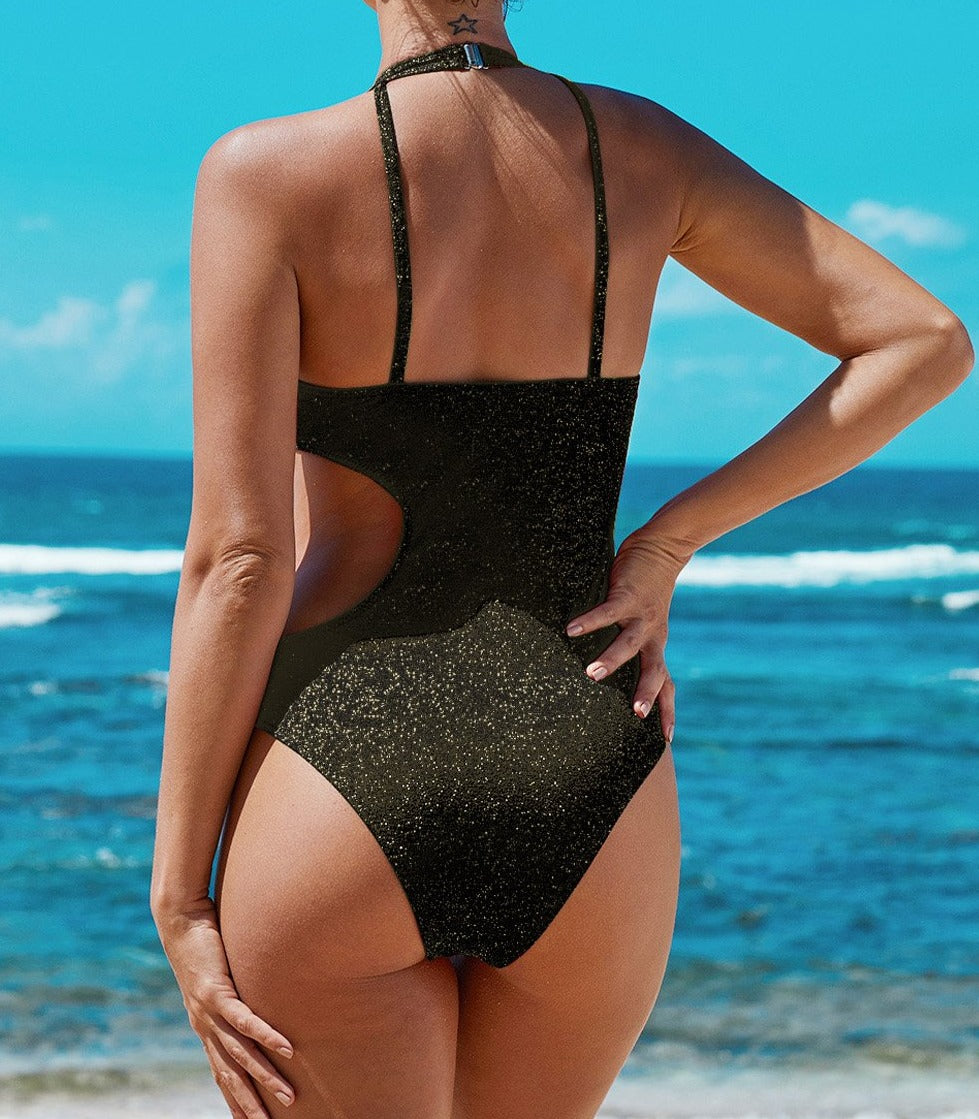 Black Frilled Neck Cut-out Ribbed One-piece Swimwear