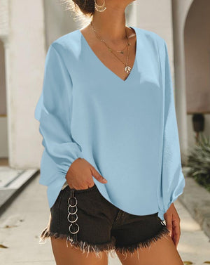 Sky Blue Bells Will Be Ringing Balloon Sleeve Blouse