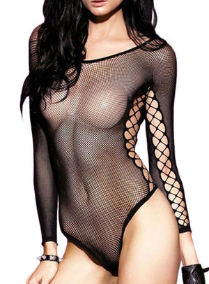 Crisscross Detail Transparent Mesh Teddy