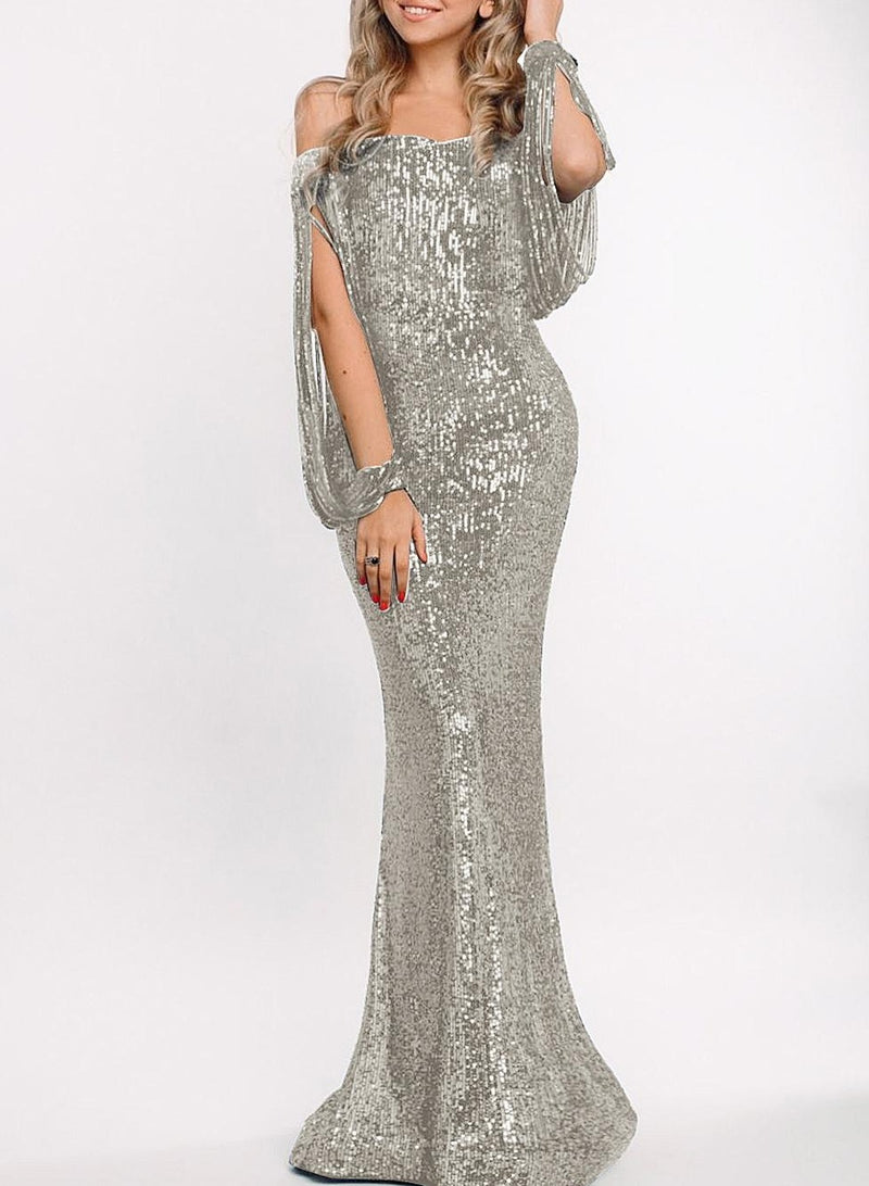 Silver Off Shoulder Tasseled Sleeve Sequin Party Maxi Dress