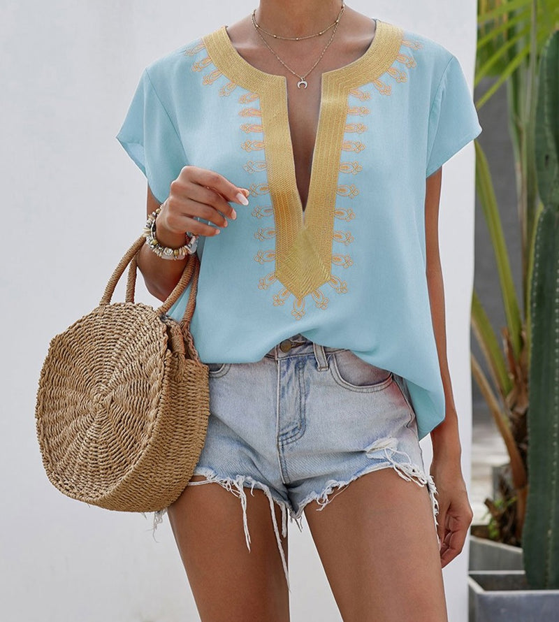 Sky Blue Short Sleeve Printed Neck Shift Blouse
