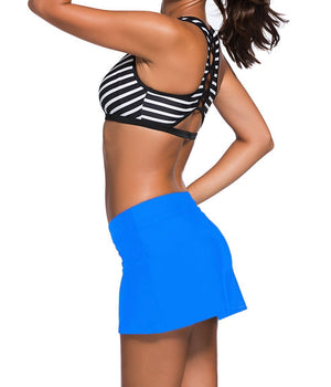 Blue Skirted Swim Bikini Bottom