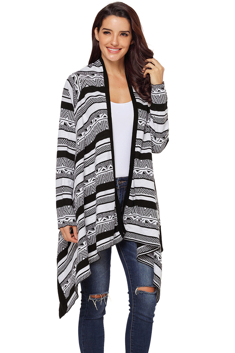 Black Draped Azetc Print Open Front Cardigan