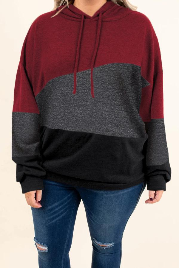 Red Lucky Break Color Block Plus Size Hoodie