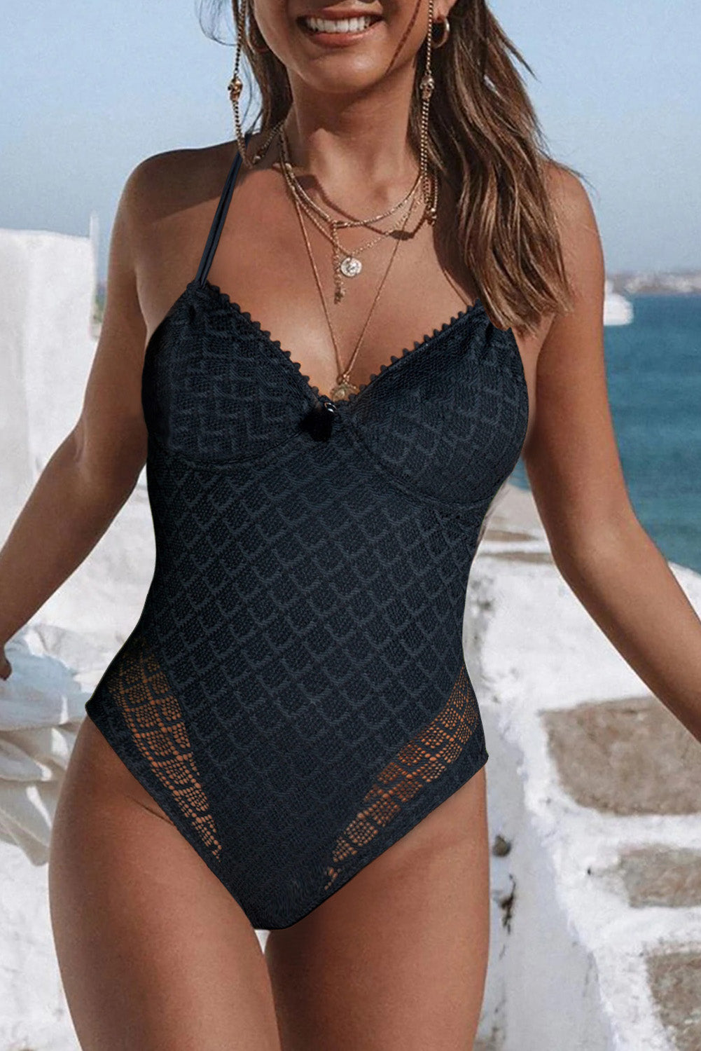 Adjustable Halter V Neck Swimsuit