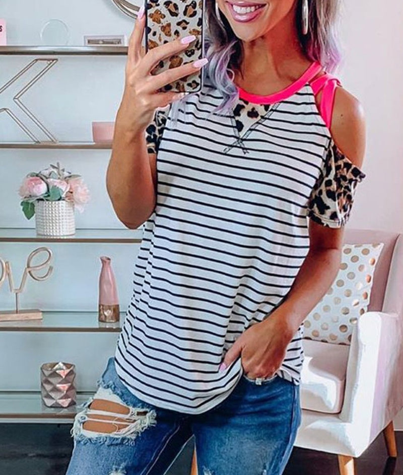 Striped Leopard Patchwork Cold Shoulder T-shirt