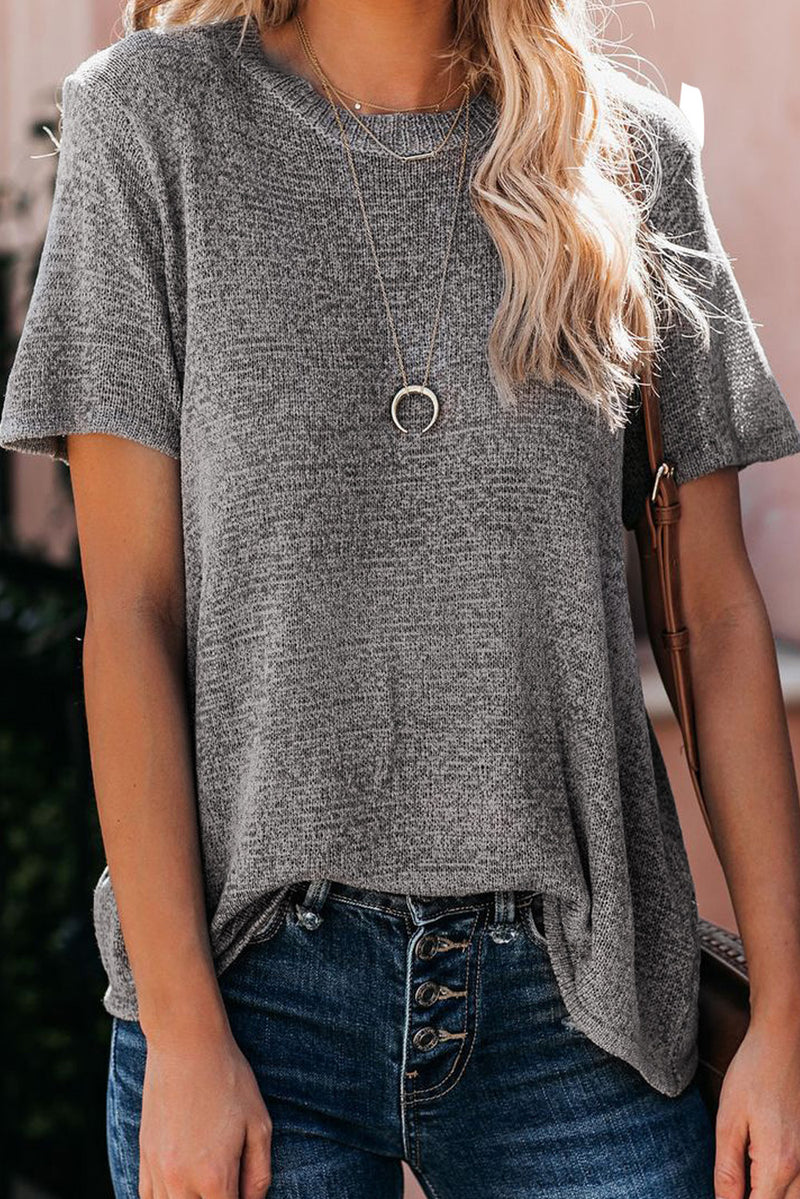 Gray Short Sleeve Knit Top