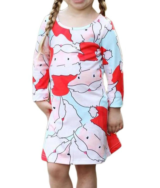 Light Blue Santa Claus Printed Girls Christmas Dress