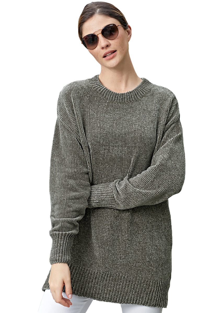 Grey Cozy Scoop Neck Velvet Sweater