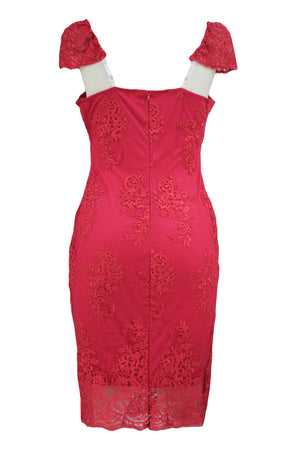 Pink Embroidered Cap Sleeves Bodycon Party Dress