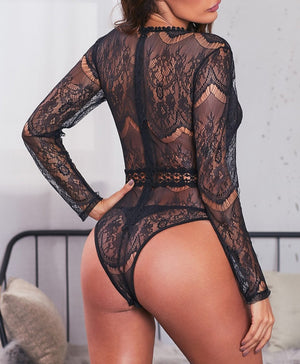 Black Daring Sheer Lace Long Sleeve Bodysuit