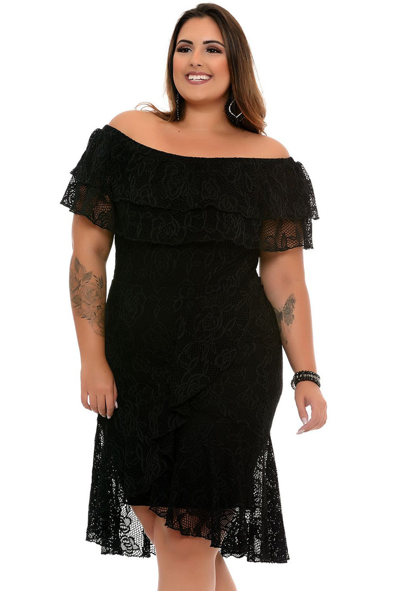 Black Floral Lace Overlay Plus Size Off Shoulder Dress