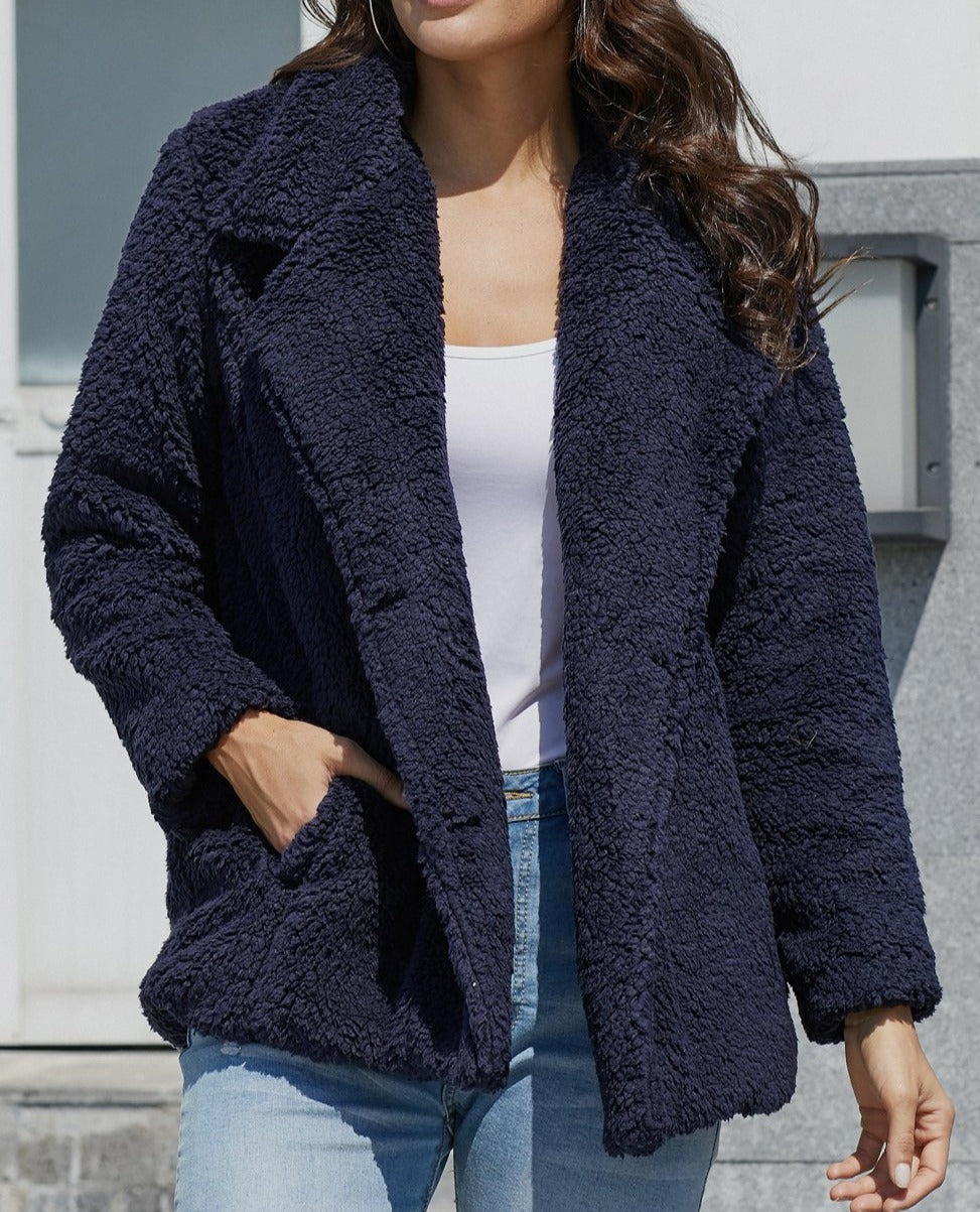 Navy Fleece Open Front Coat with Pockets