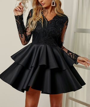 Black Sequin Embroidered Multilayer Skater Dress
