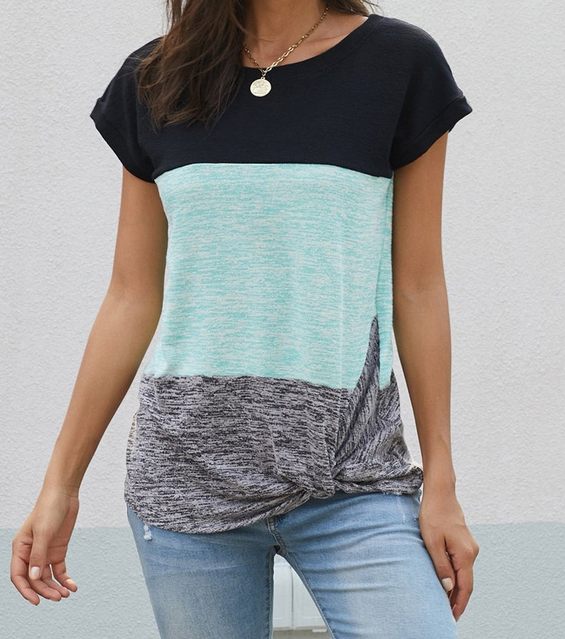 Green Color Block Twist Tee