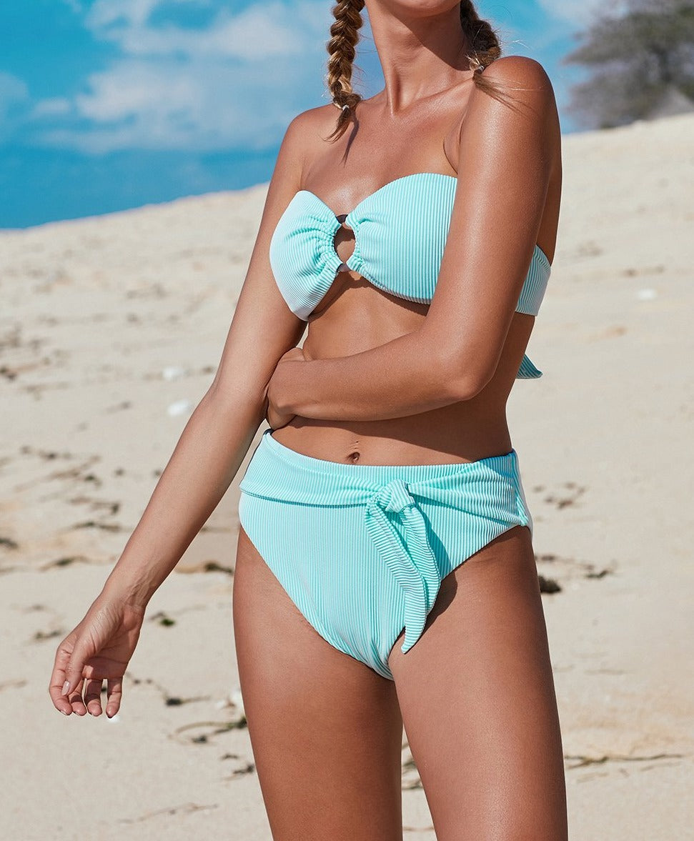 Sky Blue Striped O-ring Bandeau Bikini