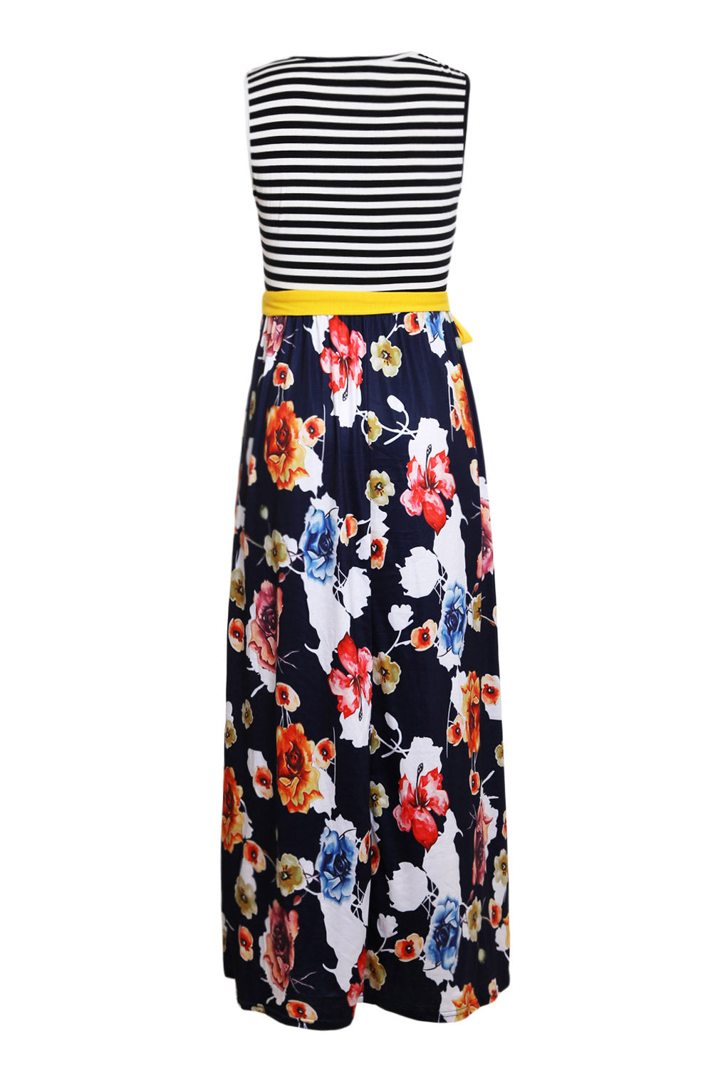 Navy Floral Scatter Striped Sleeveless Boho Dress