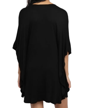 Black Lace up Tie Hollow-out Poncho Cover up