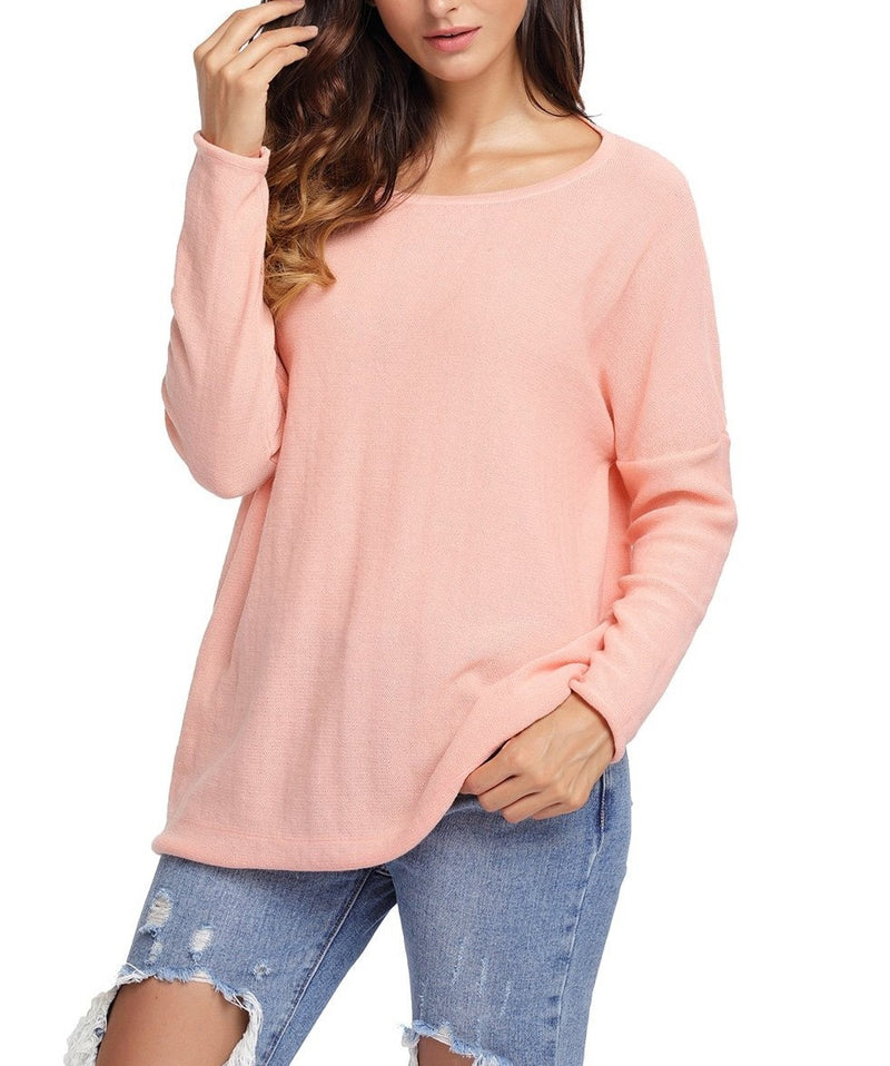 Salmon Backless Twist Knit Long Sleeve Dolman Top
