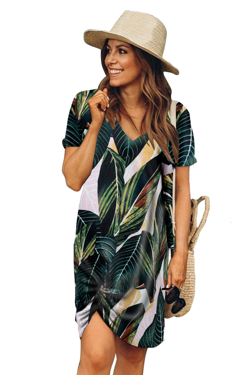 Green Palm Print Short Sleeve Side Knot T-shirt Dress
