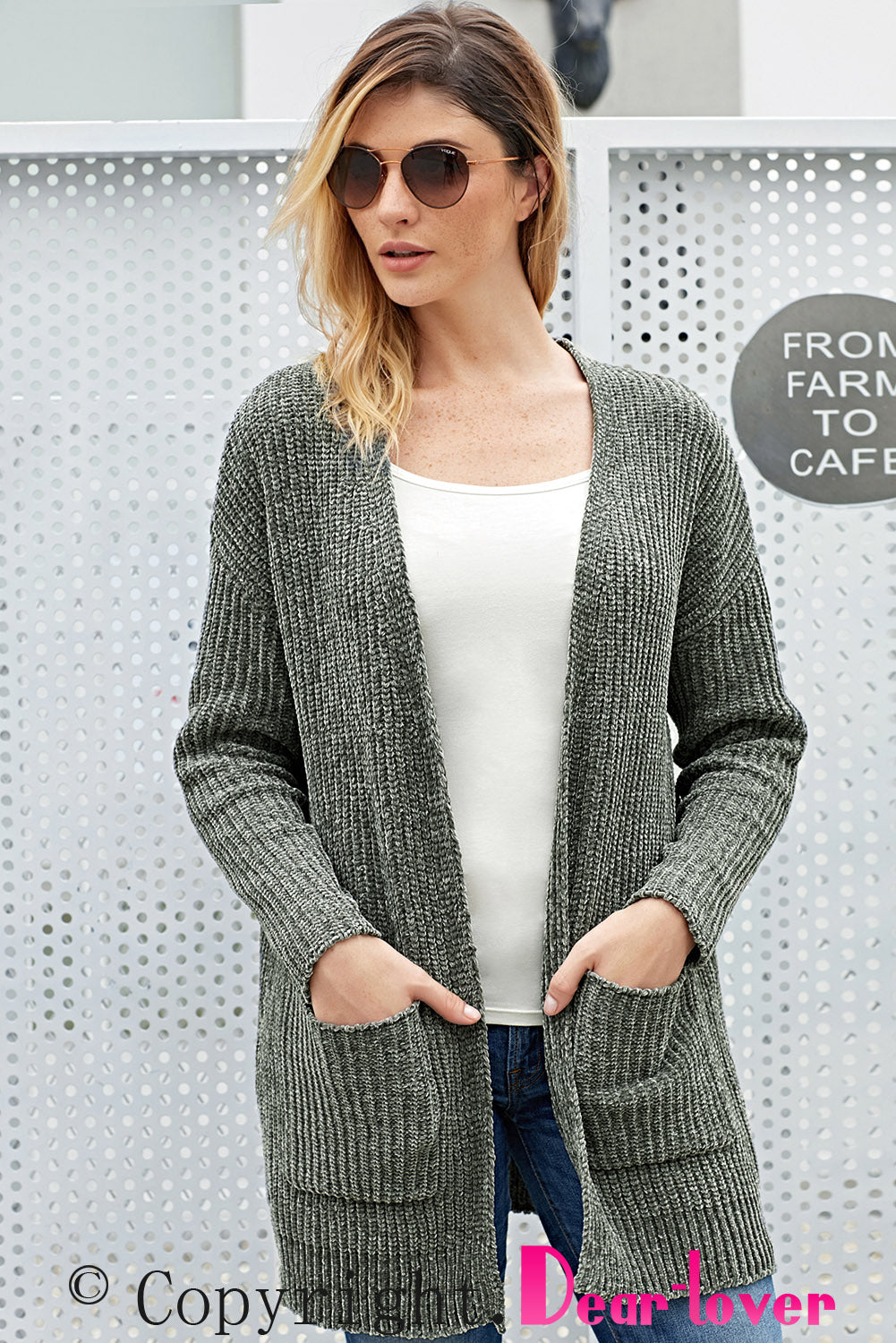 Grey Long Sleeved Sweater Cardigan with Pockets